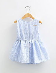 Casual Dress Spring Hot Selling Stand Striped Cotton Bow Buttons Korean Style for Girls