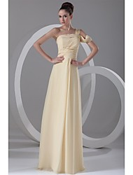 Prom Formal Evening Dress - Elegant A-line One Shoulder Floor-length Chiffon with Side Draping