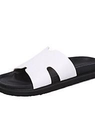 Women's Shoes PU Flat Heel Slippers Sandals / Slippers Outdoor / Dress / Casual Black / White