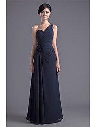 Formal Evening Dress - Open Back Sheath / Column One Shoulder Floor-length Chiffon with Flower(s) Side Draping