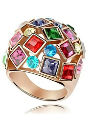 Women's Ring Silver Plated Luxury Multicolor Crystal Rings Fashion Jewelry for Women