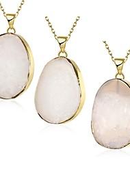 falta irregulares de cristal de piedra de ágata 18k de oro puro y natural u de las mujeres plateó el collar pendiente una pieza de joyería