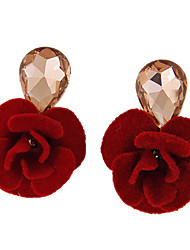 Women's New Fashion Boutique Sweet Elegant Droplets Gem Flowers Stud Earrings