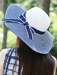 Women Mesh / Straw Flowers and Striped Floppy Hat,Cute / Party / Casual Spring / Summer / Fall