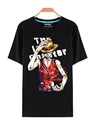Inspiriert von One Piece Monkey D. Luffy Anime Cosplay Kostüme Cosplay-T-Shirt Druck Schwarz Kurze Ärmel Top