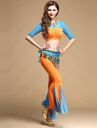 Belly Dance Outfits Women's Performance Tulle Draped 3 Pieces Fuchsia / Orange / Royal Blue / Sky blue Belly Dance
