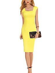 Women's Sexy Solid Sheath Dress,Square Neck Knee-length Polyester