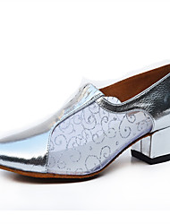 Women's Dance Shoes Samba Leather / Sparkling Glitter Chunky Heel Silver / Gray / Gold Customizable