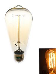1 kpl Zweihnder E26/E27 40W 1 COB 500 lm Lämmin valkoinen ST64 edison Vintage LED-hehkulamput AC 110-130 V
