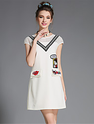 moda feminina verão aofuli Plus Size retalhos bordados bolso oca vestido de manga curta