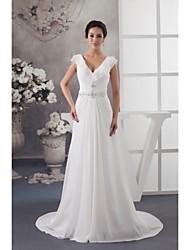 Sheath/Column Wedding Dress-Court Train V-neck Chiffon / Satin