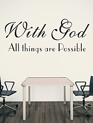 AYA™ DIY Wall Stickers Wall Decals, With God All Things Are Possible Bible Verse PVC Wall Stickers