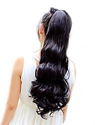 Naturschwarz (# 1B) / Helles Kastanienbraun (# 30) / Dunkles Kastanienbraun (# 33) Synthetik Pferdeschwanz Große WellenMicro Ring Hair