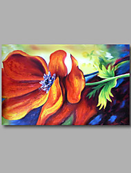 "Stretched (Ready to hang) Hand-Painted Oil Painting 36""x24"" Canvas Wall Art Modern Abstract Flowers Red Roses"