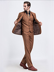 Suits Tailored Fit Notch Single Breasted One-button Serge Solid 3 Pieces Khaki Straight Flapped Single (One) Single (One)Buttons /