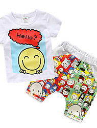 Boys Summer Cotton Clothes Sets Smile Face Printed Cute T-Shirts+ Pants Kids Clothing Set Baby