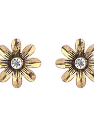 Fashion Bronze Flowers Retro Rhinestones Earrings