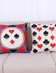 Set of 2 Playing Cards Pattern Linen Pillowcase  Home Decor pillow Cover (18*18inch)