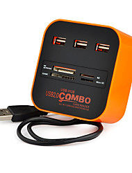 usb 2.0 3 ports / Interface usb carte hub lecteur combo 7.5 * 7.5 * 3