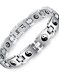 Men's Jewelry Health Care Taiji  Print Silver Stainless Steel Magnetic Therapy Bracelet Fashion Gift