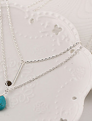 Necklace Pendant Necklaces / Layered Necklaces Jewelry Party / Daily / Casual Fashion Turquoise Silver 1pc Gift