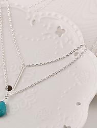 Femme Pendentif de collier Collier multi rangs Goutte Turquoise Mode Pierres de naissance Simple Style Multicouches Argent Bijoux Pour