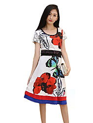 Women's Vintage Print A Line Dress,Round Neck Knee-length Polyester
