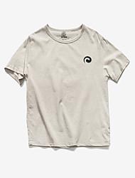 Print-Informeel-Heren-Katoen-T-shirt-Korte mouw Beige