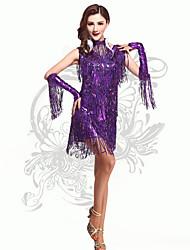 Robes(Violet,Elasthanne,Danse latine)Danse latine- pourFemme Paillettes / Frange (s) Spectacle Danse latine Taille haute
