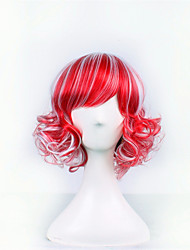 Europe And The United States The New Anime Wigs Red And White Blend Color 14 inch High Temperature Wire Short Curly Wig