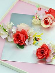 Femme Jeune bouquetière Tissu Casque-Mariage Occasion spéciale Extérieur Fleurs 3 Pièces