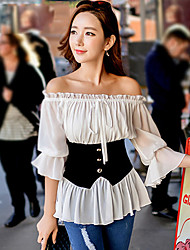 Women's 2016 New Spring Falaba Tops Color Block White Shirt , Boat Neck ½ Length Sleeve,Lady's Off-The Shoulder  Top