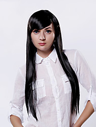 Capless Black Color Long Length High Quality Natural Straight Synthetic Wig