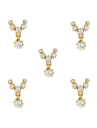 10pcs Gold Necklace with Clear Rhinestone 3D Charm Alloy Nail Art Decoration