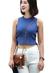Damen Solide Sexy / Street Schick Lässig/Alltäglich T-shirt,Rundhalsausschnitt Sommer Ärmellos Blau / Weiß / SchwarzBaumwolle /