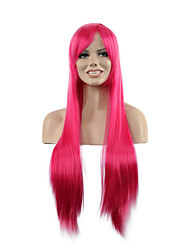 Natural Long Length Rose Color Popular Straight Synthetic Wig For Woman