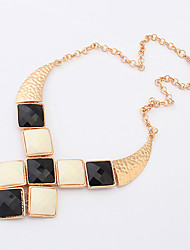 Women's Collar Necklace Statement Necklaces Resin Alloy Statement Jewelry Fashion White Black Black/White Jewelry Daily Casual 1pc