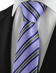 KissTies Men's Tie Lavender Violet Striped Wedding/Business/Party/Work/Casual Necktie With Gift Box