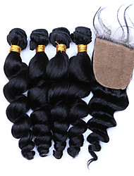 Hair Weft with Closure Brazilian Texture Loose Wave 12 Months 5 Pieces hair weaves
