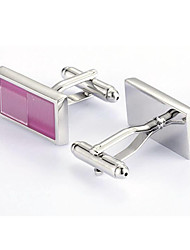 Men's Fashion Pink Crystal Alloy French Shirt Cufflinks (1-Pair)