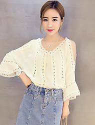 Women's Solid White Blouse,V Neck ¾ Sleeve