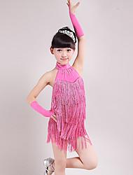 Dança Latina Vestidos Crianças Actuação Elastano Poliéster 3 Peças Sem Mangas Alto Vestido Luvas