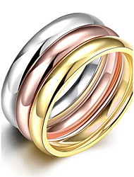 lureme® Vintage Classic Tricolor Stainless Steel High Polished Plain Womens Girls Rings 3 Pcs A Set