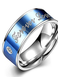 "lureme® Stainless Steel ""FOREVER LOVE"" With Zircon Promising Ring - Blue Tone"