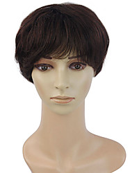 100 human hair short hair straight hair wig in the elderly temperament fluffy wig