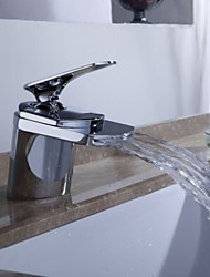 Waterfall Bathroom Sink Faucet Widespread Contemporary Design Faucet - Chrome Finish
