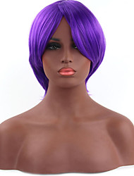 Fashionable Purple Color Short Length Straight Cosplay Synthetic Wigs