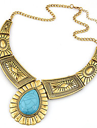 Women European Style Fashion Exaggerated Metal Droplets Gemstone Statement Necklace