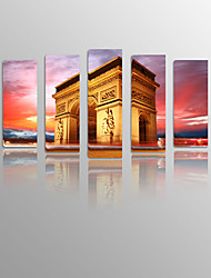 Landscape Triumphal arch on Canvas wood Framed 5 Panels Ready to hang for Living Decor