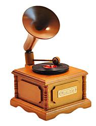 древесина желтый / коричневый творческий романтическая музыкальная шкатулка для подарка